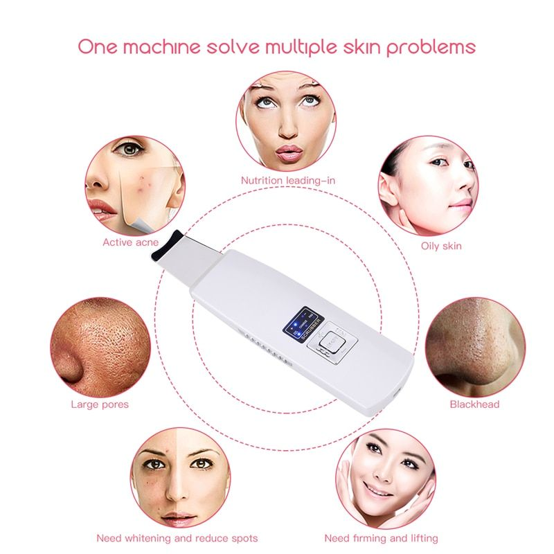 Multifunction Ultrasonic Ion Pad Skin Scrubber Rechargeable Ultrasound Face Pore Cleaner Deep Cleaning Facial Peeling Massager48