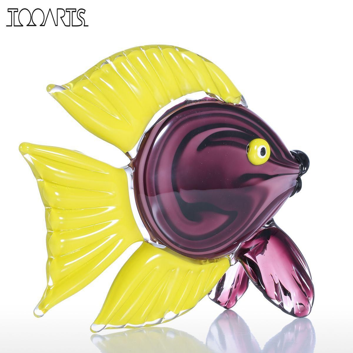 Tooarts Yellow Tropical Fish Glass Figurine Home Decor Animal Figurine Ornament Favor Gift Glass Craft For Home Office