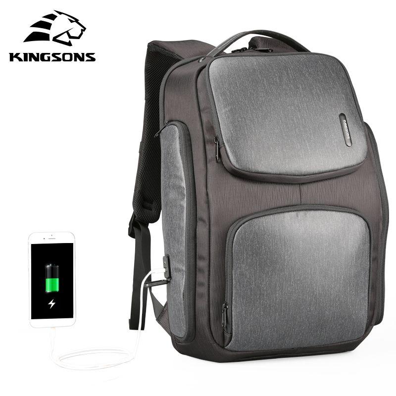 Kingsons Verbesserte Solar Rucksack Schnelle USB Lade Knapsack 15,6 zoll Laptop Rucksäcke Männer Frauen Reisetasche Männlichen Kühle Mochila