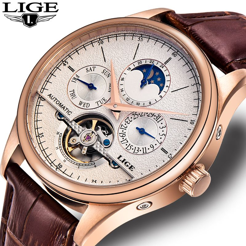 LIGE Men watches Brand Automatic mechanical watch tourbillon Sport clock leather Casual business wristwatch Gold relojes hombre