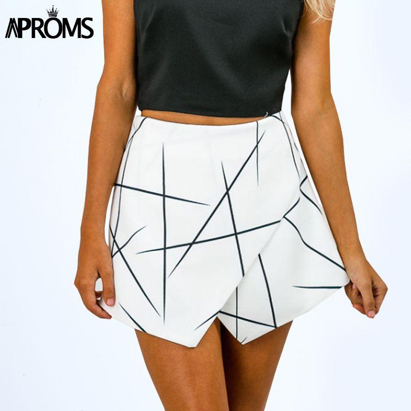 Aproms nouveau 2019 été Style Shorts femmes lignes pointues couches fermeture éclair jupe irrégulière OL blanc Culottes Shorts jupes 70081