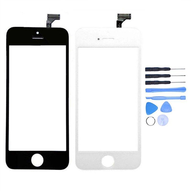 Nouveau numériseur d'écran tactile pour iPhone 5 5c 5 s remplacement du capteur de panneau de lentille en verre avant externe + outils gratuits avec numéro de suivi