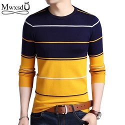 Mwxsd Casual Men winter O-Neck Striped pullover Sweaters Slim Fit Knitting Mens cotton Sweaters High Quality male Pullovers