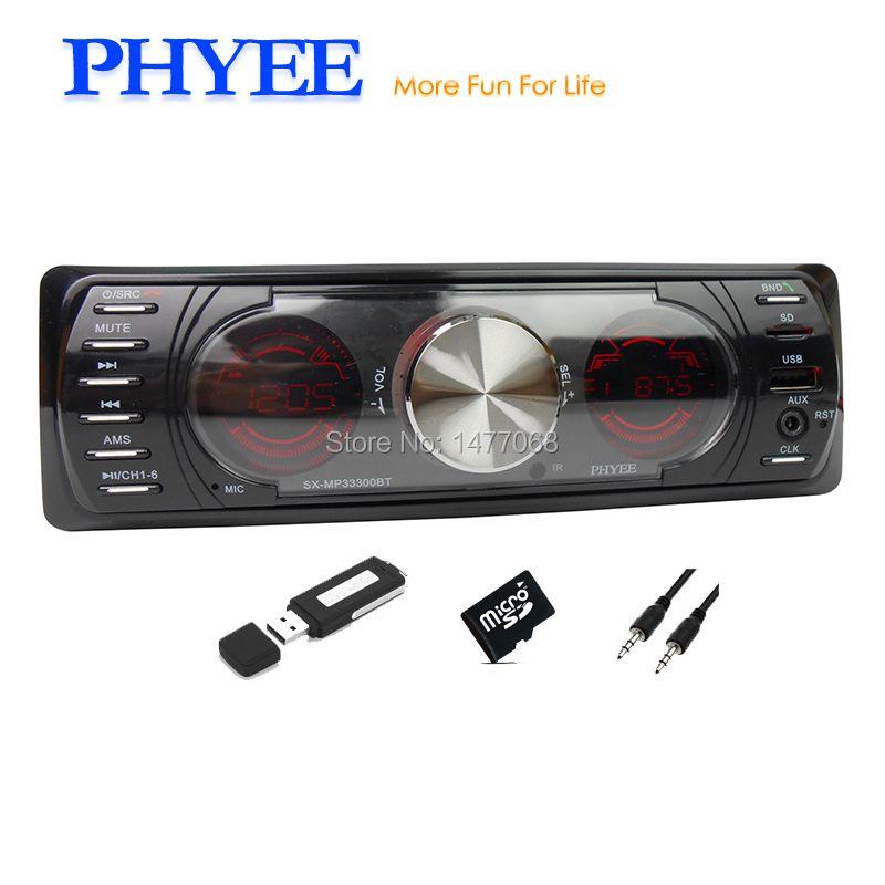 PHYEE 1 Din Double Screen Car Radio Bluetooth Autoradio Stereo Audio MP3 ID3 WMA USB TF A2DP Handsfree ISO SX-MP33300BT