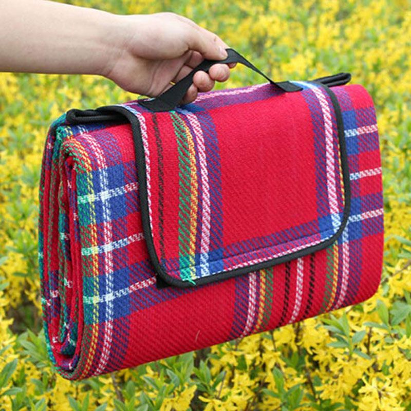 Portable Plaid Beach Mat Blanket <font><b>Foldable</b></font> Climb Outdoor Waterproof Beach Mats for Camping Picnic Blanket