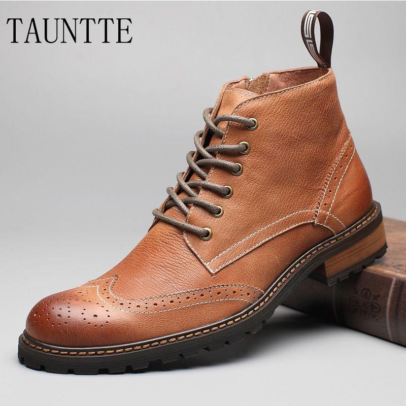 Tauntte зима Ботильоны из кожи с натуральной текстурой Для мужчин ретро броги Вырезка цветок ботинки Martin классический chukkas