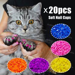 20 pcs silicone suave cat prego caps/cat paw garra/pet protector prego/cat tampa unha com cola livre e Applictor