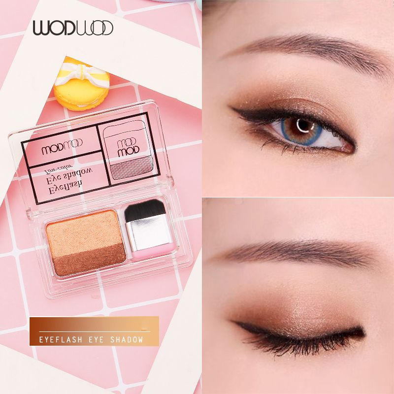 WODWOD Duo Color Easy Makeup Eyeshadow Palette Shimmer Matte High Pigment Sunset Eyeshadow Make Up Smoky Gold Brown Eyeshadow