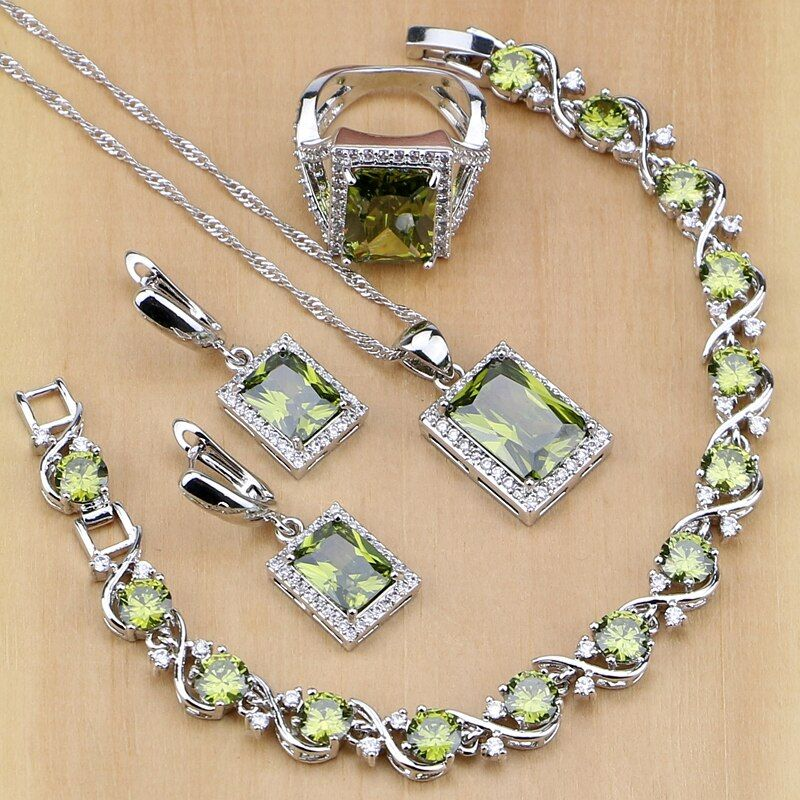Square 925 Sterling Silver Jewelry Olive Green Cubic zirconia Jewelry Sets For Women Earrings/<font><b>Pendant</b></font>/Necklace/Rings/Bracelet