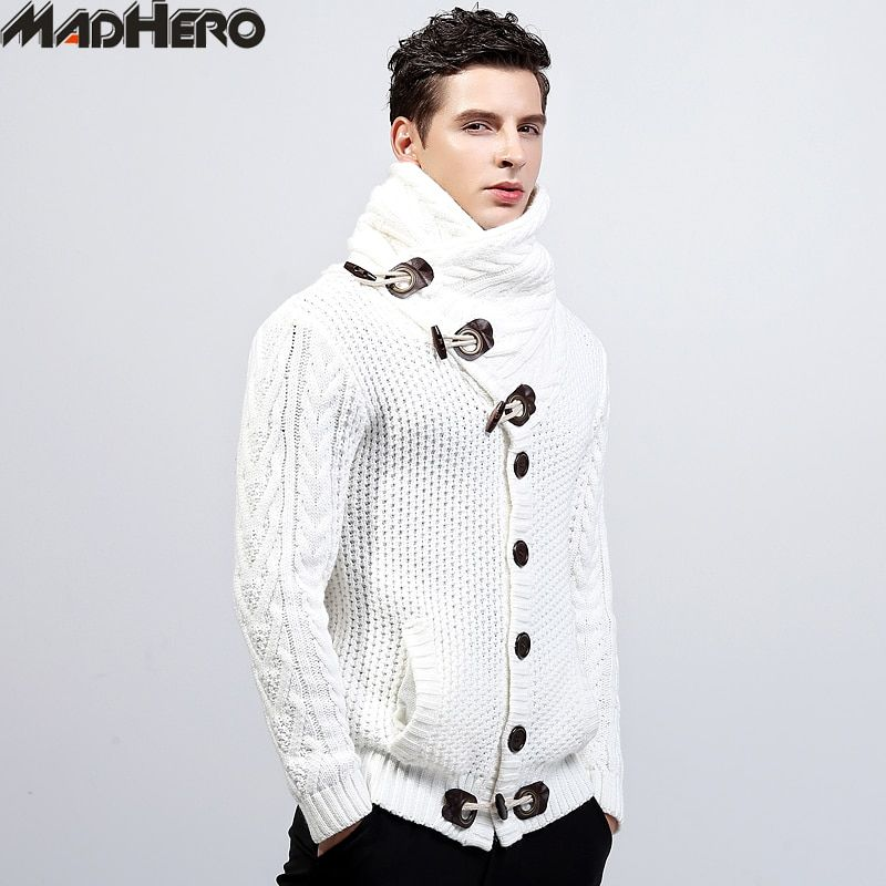 MADHERO Acrylic Men's Jacquard Knitted Collar Sweaters Warm Winter Cardigan Men Solid Soft Slim Jumper Button Pockets Pullovers