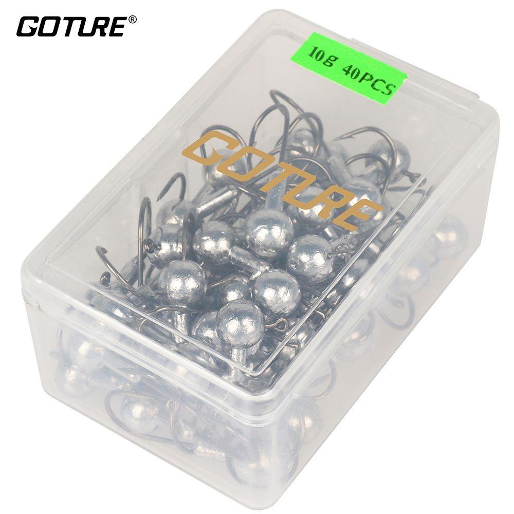 Goture 20-50 pièces/boîte crochet de pêche Set 1g-20g tête de gabarit hameçons avec leurre boîte dure pour accessoires de pêche au leurre souple