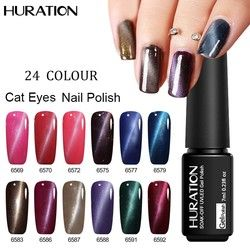 Huration Beruntung Mata Kucing 3D Nail Gel Polish 24 Warna LED UV Nail Art Gel Lacquer rendam-off 7 ml Semi Permanen pernis