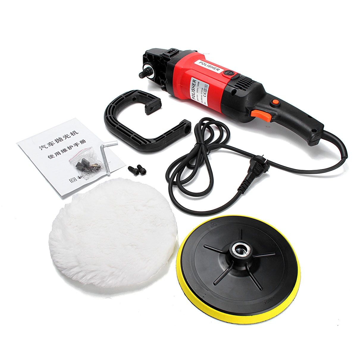 7'' Electric 6 Variable Speed Car Polisher Buffer Waxer Sander Boat with Sponge leaning Polishing Tool