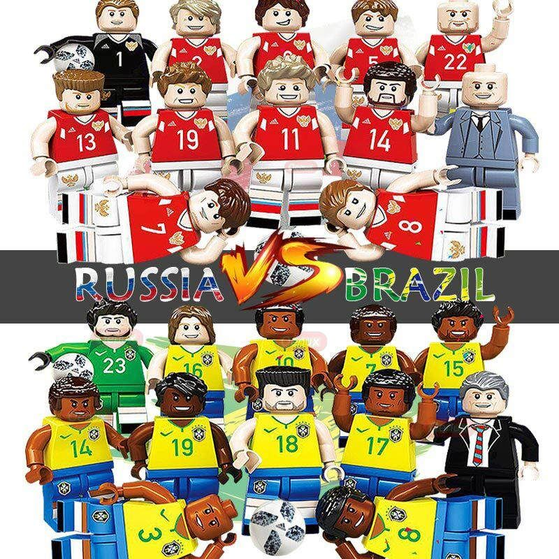 Oenux New Arrival Russia VS <font><b>Brazil</b></font> Football Team Model Football Player Figures Building Block Brick Collection Toy For Kid Gift