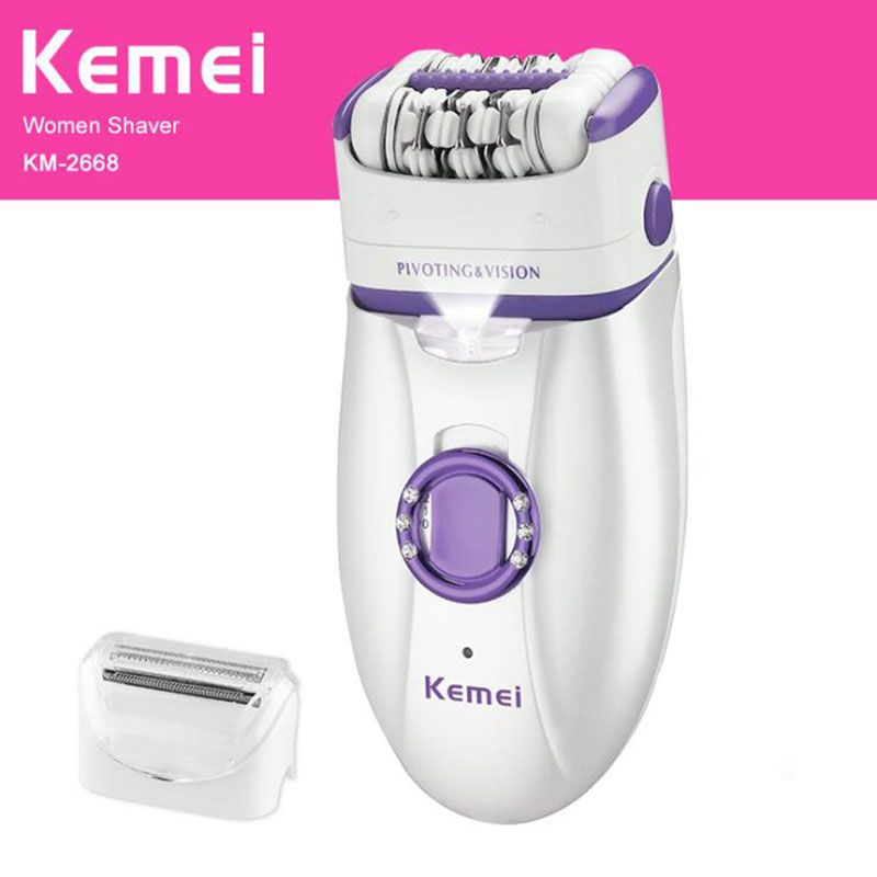 Kemei 2 in 1 Electric Epilator For Women Body Depilatory Female Rechargeable Shaver Depilation Machine Hair Removal 220-240V