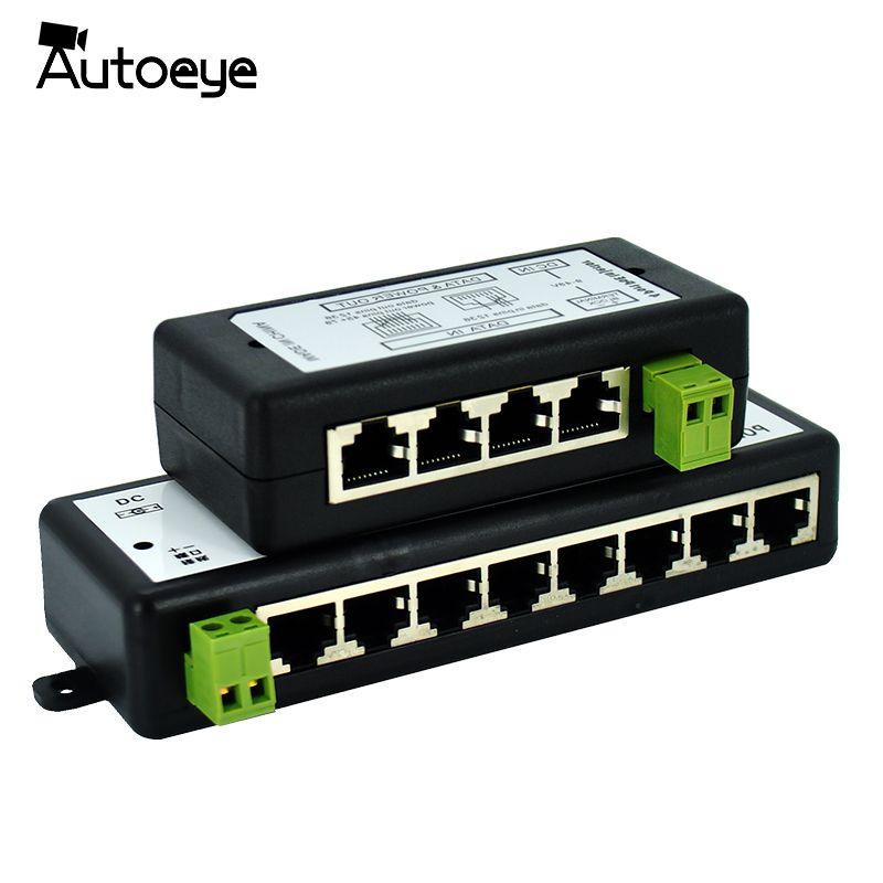 Autoeye Nouvelle Arrivée 4 Ports 8 Ports POE Injecteur POE Splitter pour CCTV Réseau POE Caméra Power Over Ethernet Ieee 802.3af