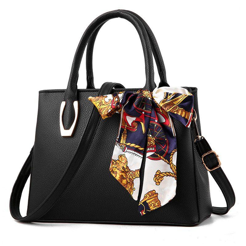 Sac femelle avec foulard en soie Femmes 2019 mode pu cuir litchi portable grand sac Dames sac à bandoulière sac à main féminin sac un principal