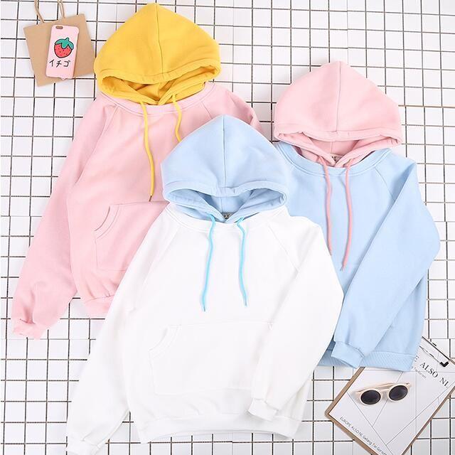 C20-New niedlichen pullover frauen Koreanische version der welle studenten lose Japanischen Harajuku hit farbe hüte baumwolle herbst & winter hemd