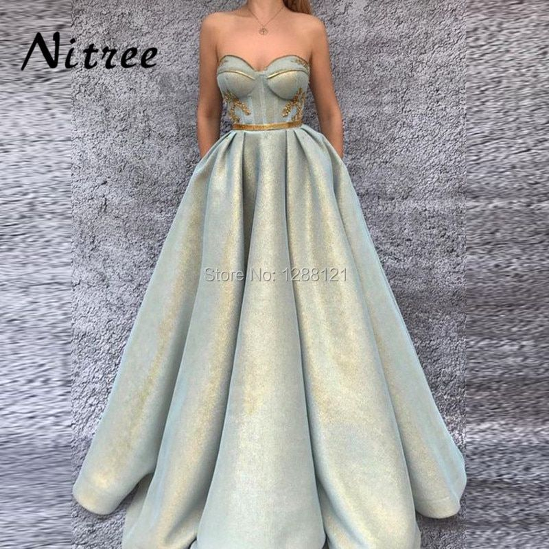 2018 Newest Luxury Evening Dresses Robe de soiree Arabic Dubai Muslim Formal Prom Dress For Weddings Turkish Aibye Glitter Gowns