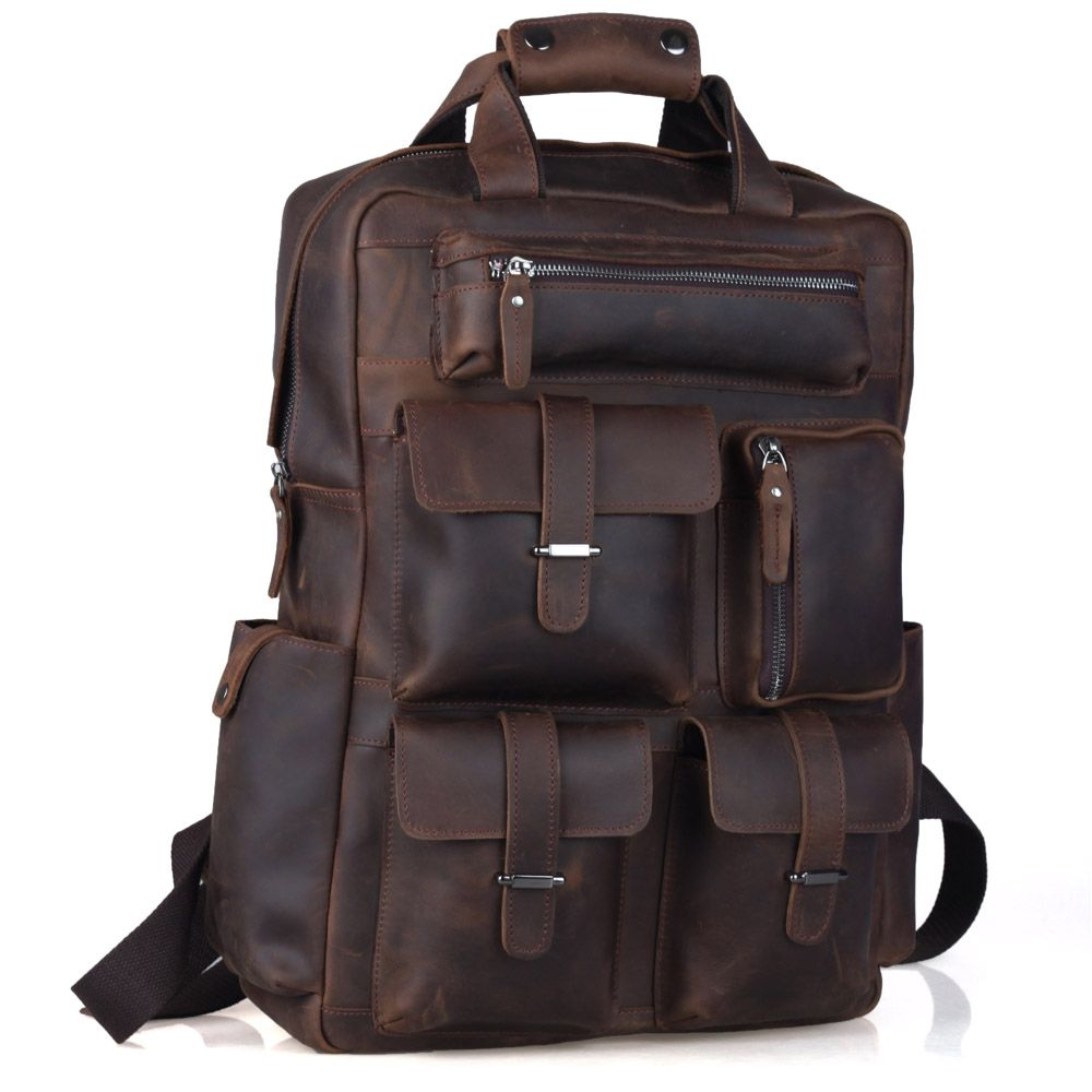 TIDING Weekender Bag Crazy Horse Leather Backpacks Casual Style Carry On Travel bag 3081