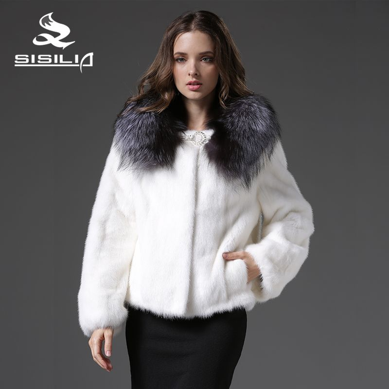 2017 New Women's Winter Mink Coats with Silver Fox Fur Collar Vrai Fourrure Sable Fur Coat Vison Tricotado Mink Coat For Women
