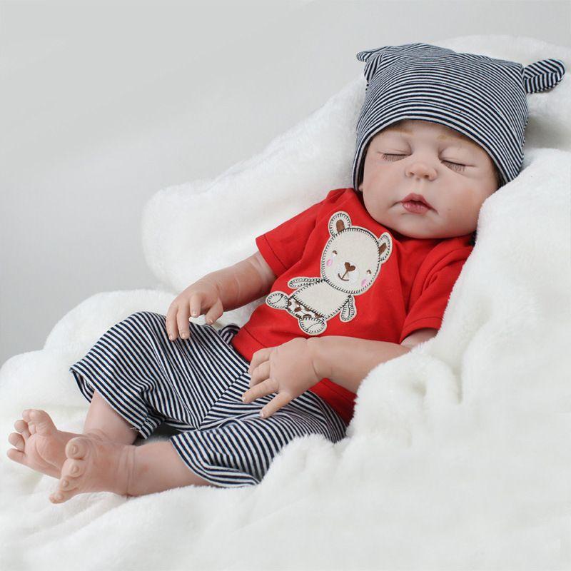 22 pulgadas bebé reborn 55 cm realista bebe reborn muñeca bebé hecho a mano lifelike completo Cuerpo silicona dormir Bebé juguete muñeca