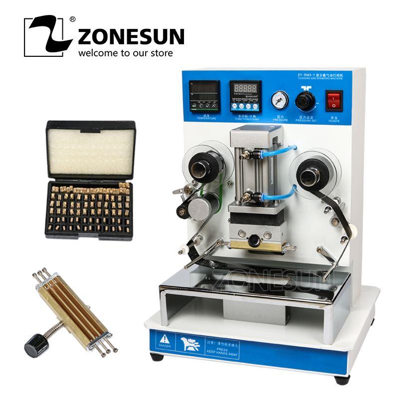 ZONESUN ZY-RM3 Automatische Heißfolienprägung Maschine Leder LOGO Rillen Maschine LOGO Stamper Heißer Worte Maschine