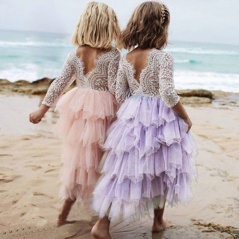 Toddler Kids Baby Girls Summer White Dresses Long Sleeve Party Prom Costume Girl Pageant Dancing Frocks Lace Tutu Layered Dress