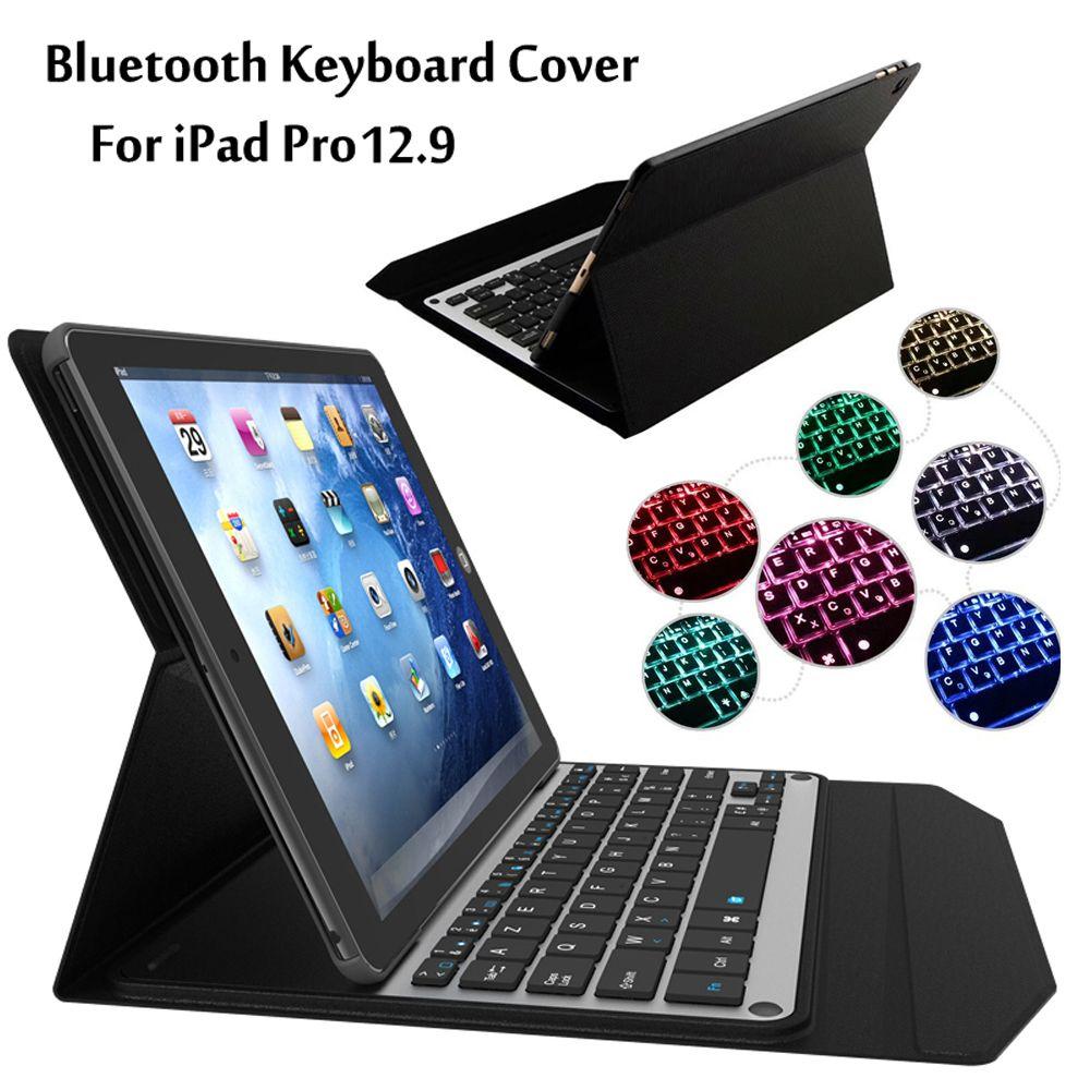 Neue 2017 Für iPad Pro 12,9 zoll Tablet 7 Farben LED hintergrundbeleuchtung Ultra dünne Drahtlose Bluetooth Tastatur Fall abdeckung + Geschenk