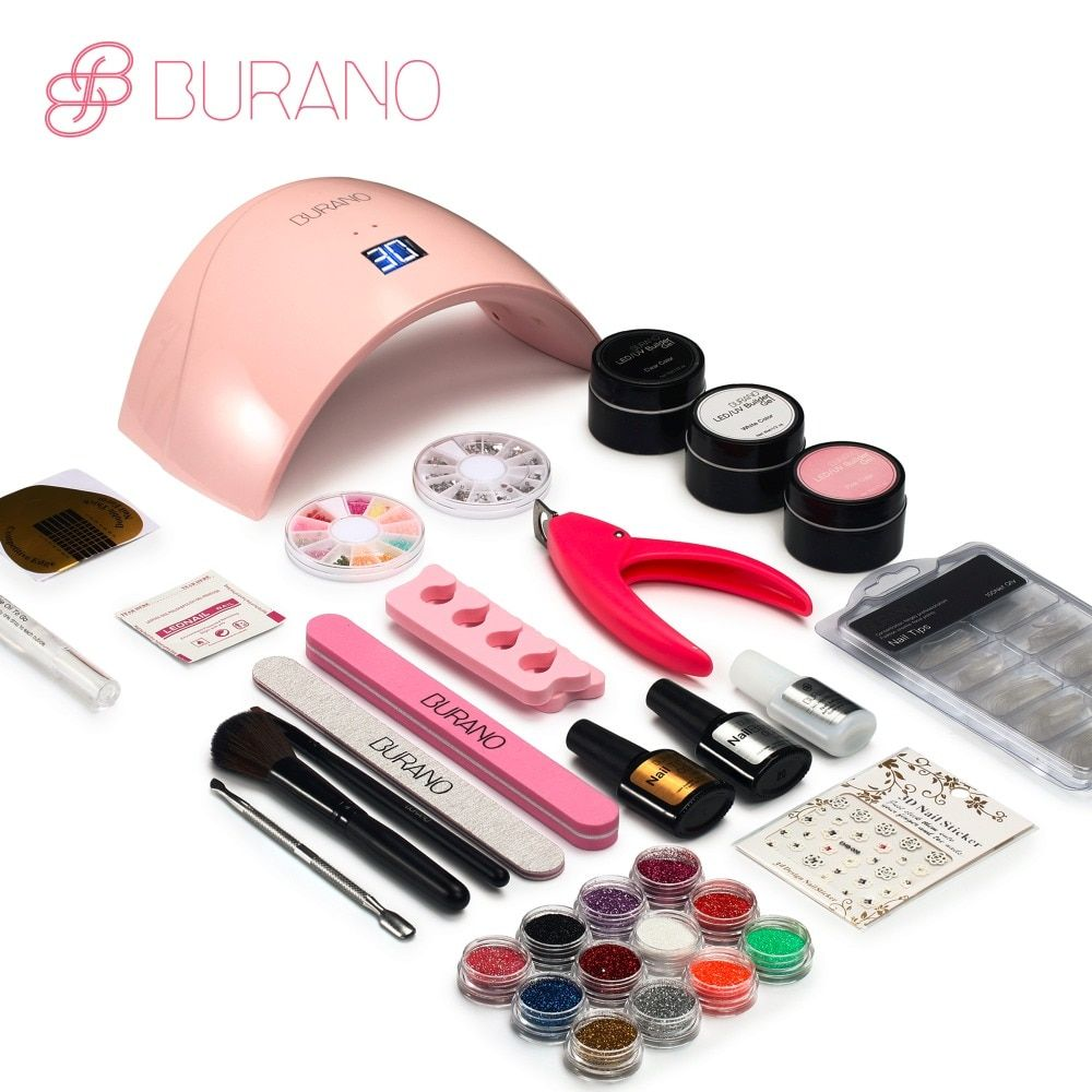 Burano 24LED Dryer Lamp 30 seconds curing lamp Block Sanding French Nail Art Tips Gel Tools DIY Kit manicure set 003