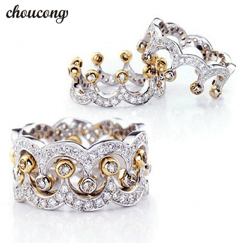 Choucong Couronne Bijoux Femmes 925 sterling Argent anneau Diamonique 5A Zircon Cz Engagement Wedding Band Anneaux Pour Femmes amour Cadeau