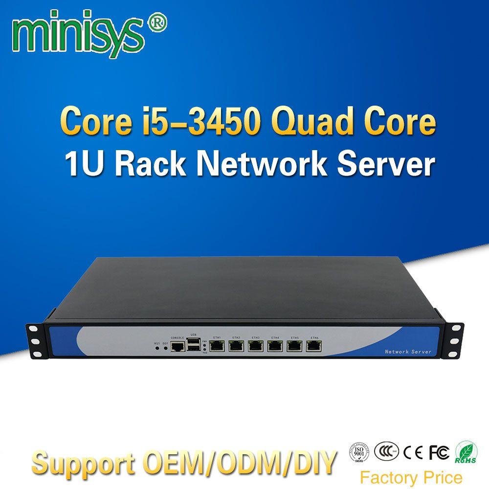 Minisys Ivy Bridge i5 3450 Quad Core 1U Rackmount Netzwerk Server mit 6 Intel Lan Barebone PC Firewall Router PfSense AES-NI
