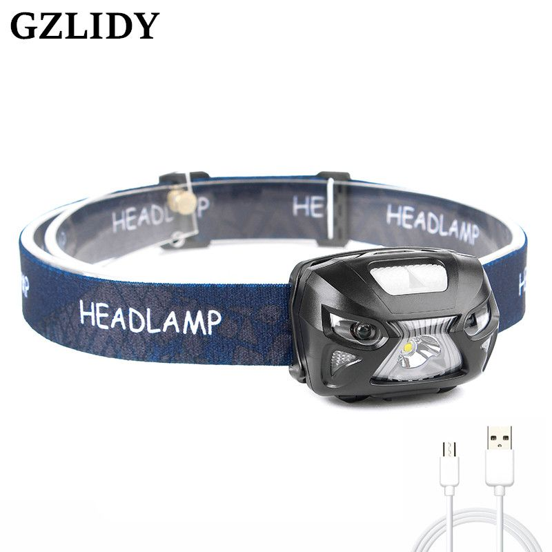 LED Body Motion Sensor Headlamp Rechargeable Headlamps USB CREE 5W 6 Modes Headlight <font><b>Perfect</b></font> for Fishing Walking Camping Reading