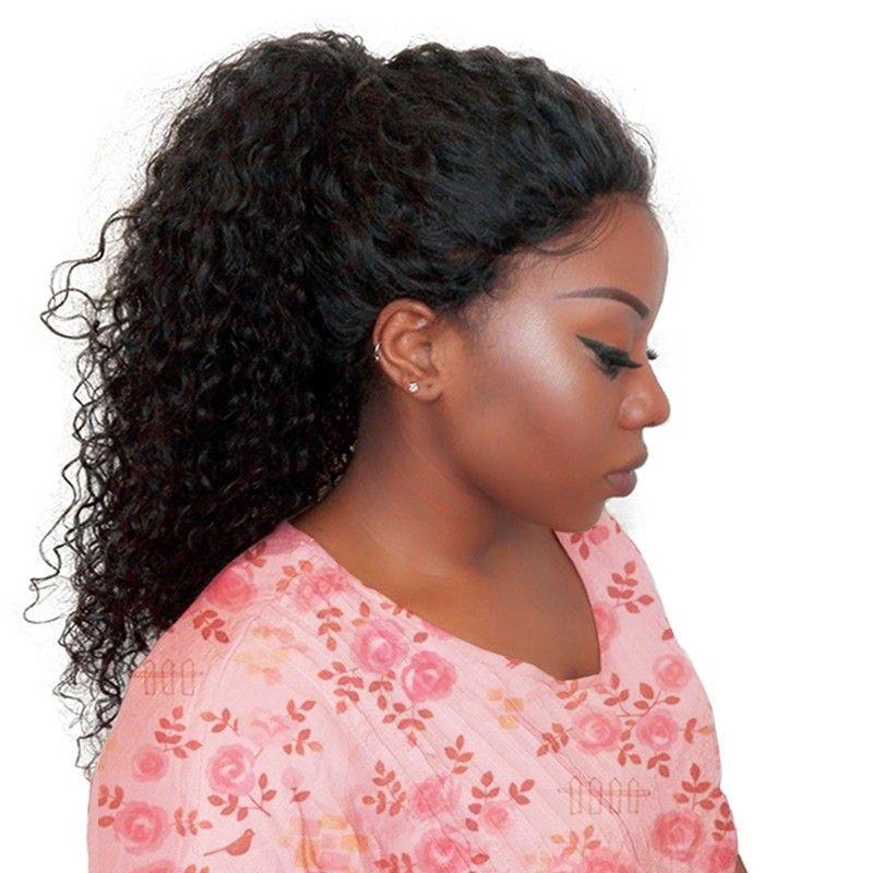 250 densité dentelle avant perruques de cheveux humains pour les femmes naturel noir bouclés dentelle avant perruque pré plumé 13x4 frontale brésilienne perruque Remy