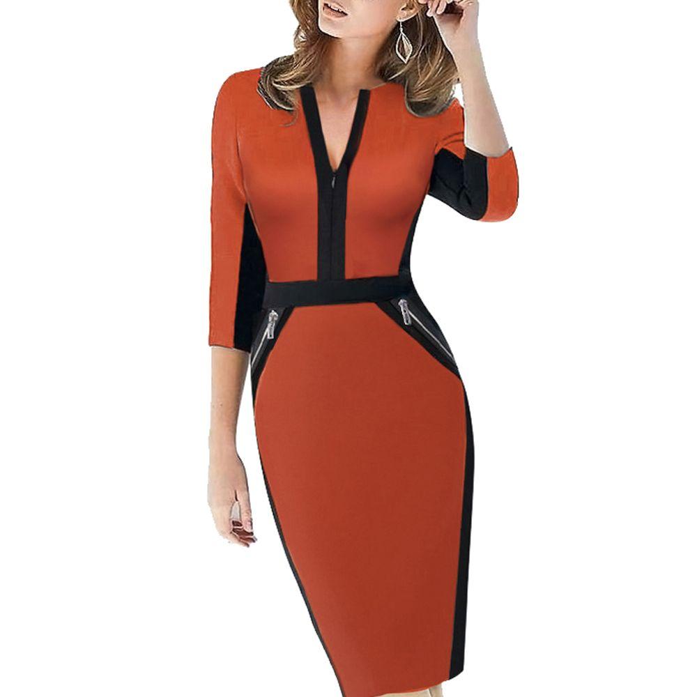 Grande taille avant fermeture éclair femmes vêtements de travail élégant Stretch robe charmante moulante crayon Midi printemps affaires robes décontractées 837