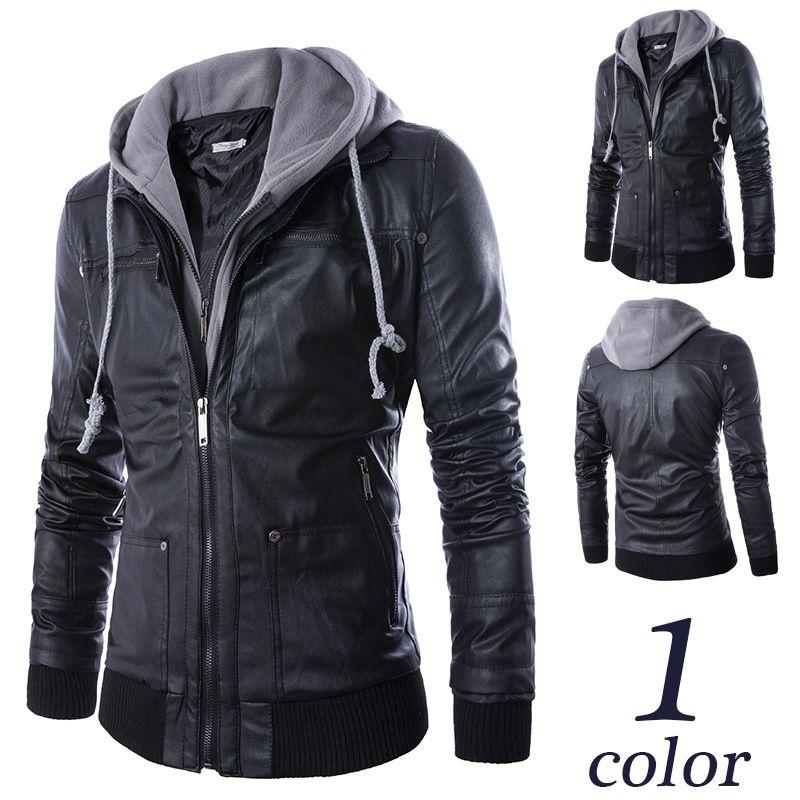 Leather Jacket Men Turn-down Collar With Hooded Jaqueta De Couro Masculina PU Mens Faux Fur Coats Veste Cuir Homme Motorcycle
