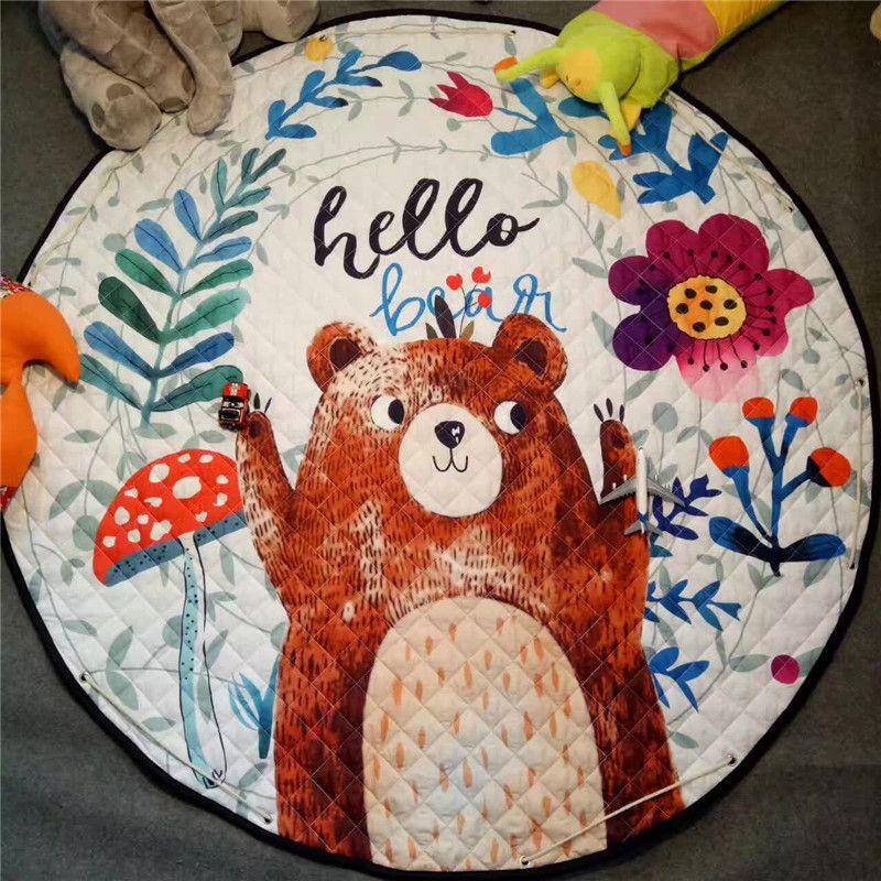 Coffee bear boy playmat Antiskip carpet girl room mat 150*150 round Storage beach mat outdoor Crawling pad BABY game mat cartoon
