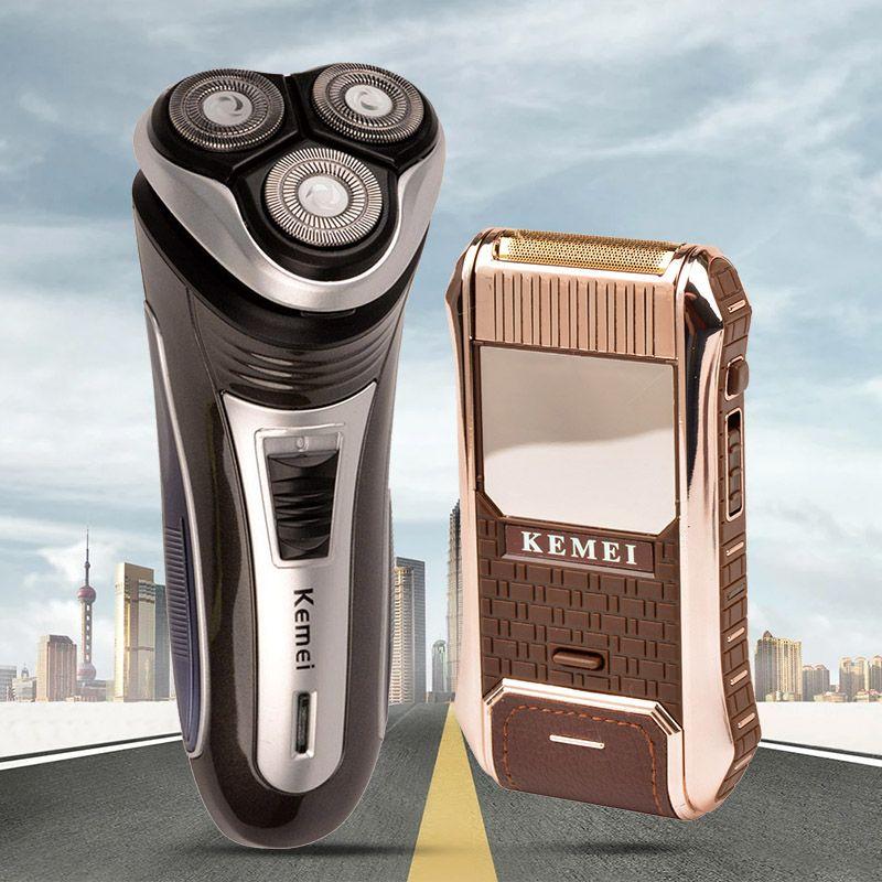 220-240V Kemei Electric Shaver Men Razor Beard Trimmer Haircut 3D Triple Floating Blade Shaving Machine Trimmer Razor barbeador