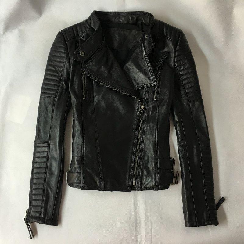 Зимняя женская обувь из натуральной кожи куртка уличной моды черный овчины из натуральной кожи короткие мотоциклетные пальто Одежда высше...