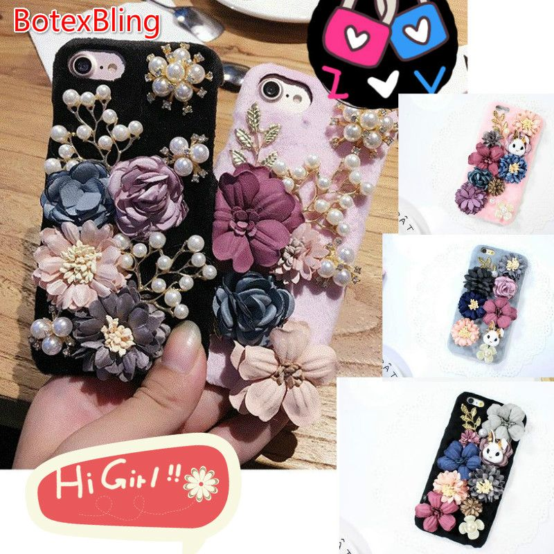 BotexBling Mignon de Bande Dessinée DIY Lapin Fleur En Peluche Diamant Téléphone Cas pour iphone 8 8 plus 7 7 plus 6 6 s plus 6 plus dur retour couverture