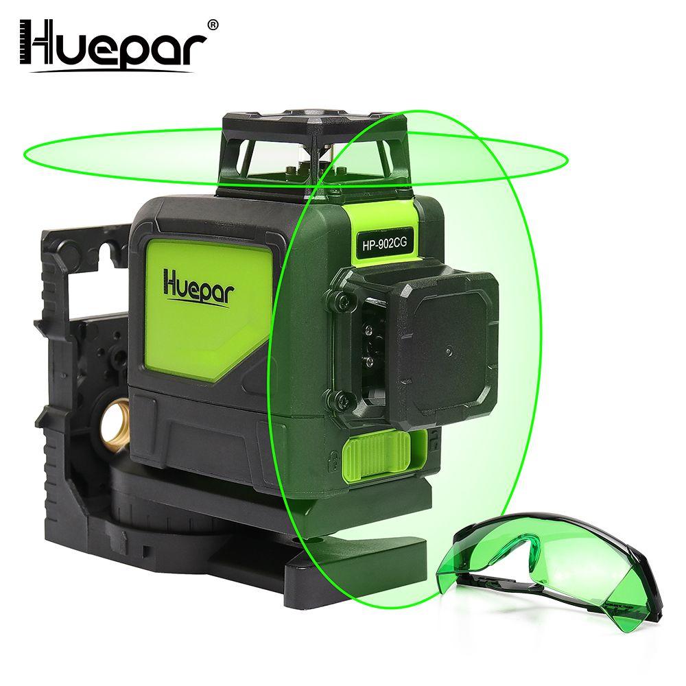 Huepar Selbst nivellierung Professionelle Grün Strahl Kreuz Linie Laser 360-Grad mit Puls Modi + Huepar Grün Laser verbesserung Gläser