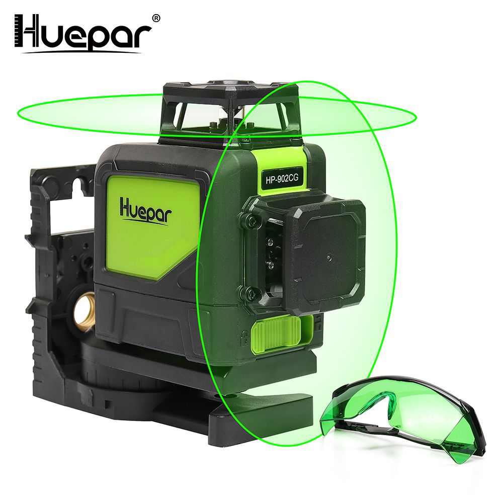 Huepar Self-leveling Professional Green Beam Cross Line Laser 360-Degree with Pulse Modes+Huepar Green Laser Enhancement Glasses