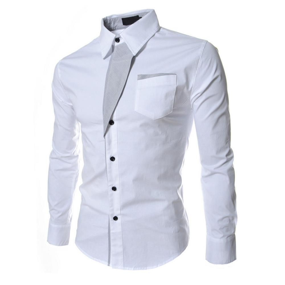 HEIßER VERKAUF! Herbst Beiläufige Männliche Langarm Streifen Herrenhemden Social Blusen Slim Fit Shirts