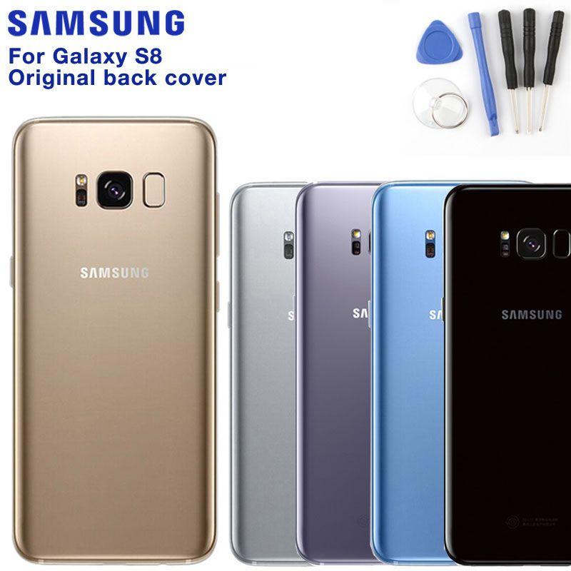 Original SAMSUNG Back Battery Cover For Samsung GALAXY S8 G9500 G950U G9508 G9508 Back Cover Cases Phone Battery Glass Backshell