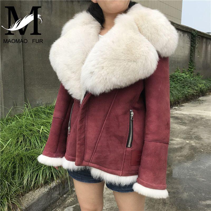 Revers Schafe Pelz Leder Jacke Frauen Winter Motorrad Echtem Leder Jacke Mode Oberbekleidung Große Pelz Kragen Kurze Jacke
