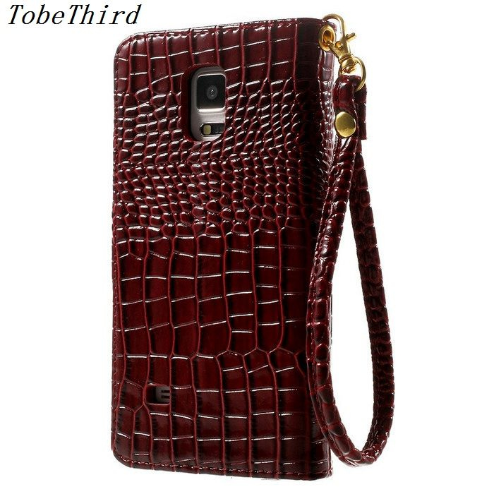 For Samsung Note 4 Case Crocodile Skin Card Holder Leather Wallet Stand Flip Case for Samsung Galaxy Note 4 910 With Strap