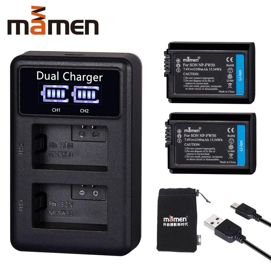 2pcs 2100mAh NP-FW50 NP FW50 Digital Camera Battery +LCD USB Dual Charger for Sony NEX-3 a7R Alpha a6500 a6300 a6000 a5000 a3000