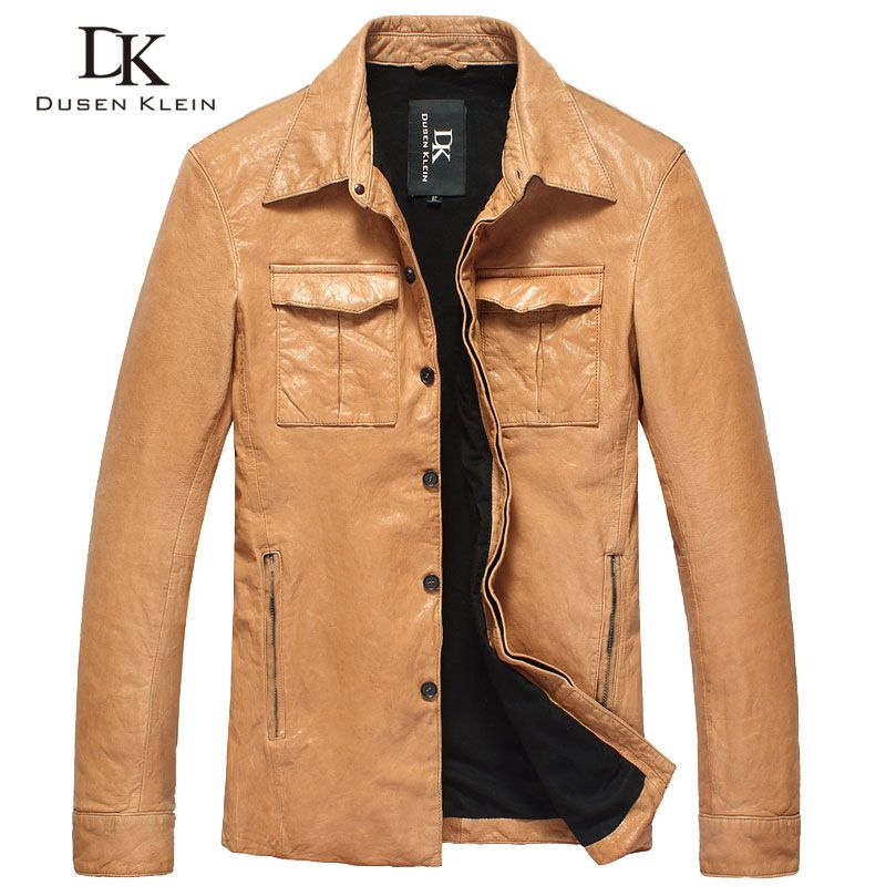 Dusen Klein 2017 Luxury mens leather coats Genunie sheepskin fashion desig Slim Black/ Orange Jackets DK102