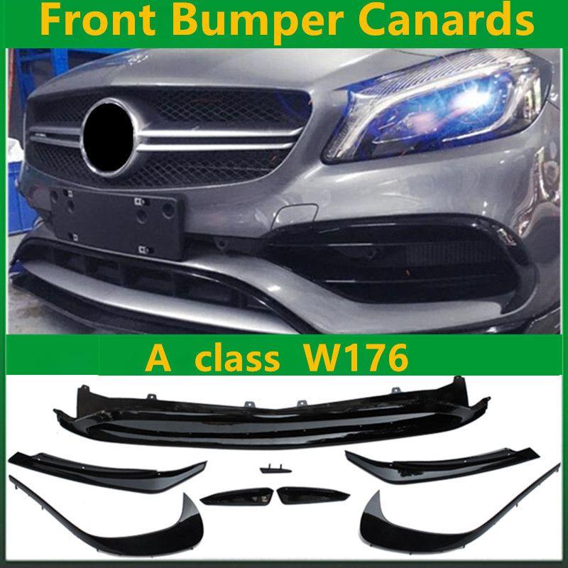 Carbon Fiber Rear Bumper Canards ABS Front Bumper Canards 8 Pieces/Set LCI A45 AMG Style for Mercedes A Class W176 LCI