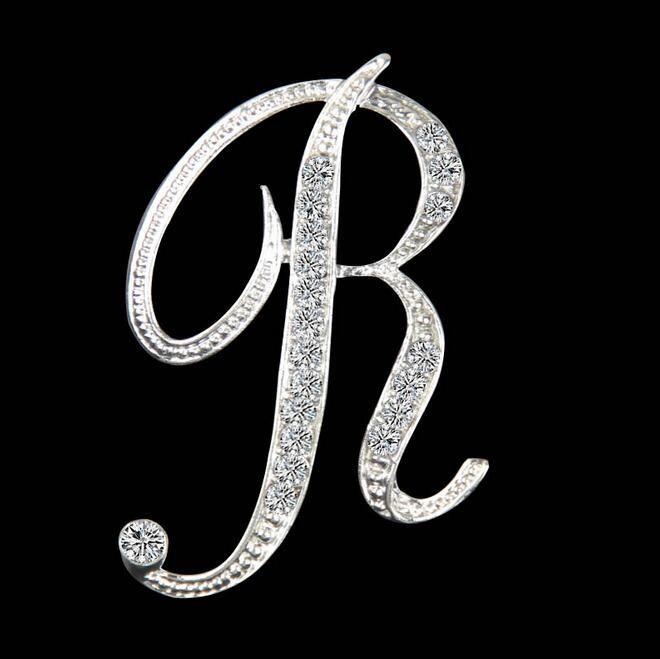 Nouveau design haute qualité cristal argent lettre broche brillant strass broches pin fille noël cadeaux accessoires pour femmes